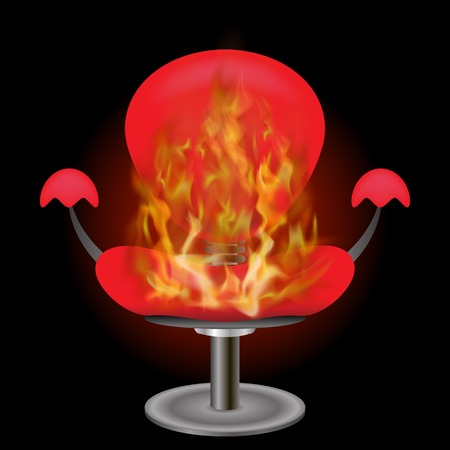 Illustration pour Burning Red Armchair with Fire Flame Isolated on Black Background - image libre de droit