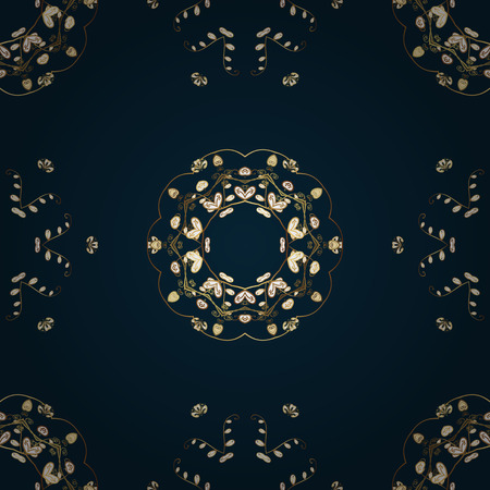 Seamless vintage pattern on dark blue background with golden elements.