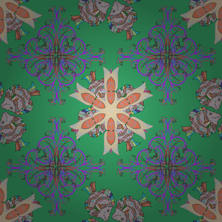 Intricate floral design element for sketch, gift paper, fabric, furniture. Colorful colored tile mandala on a green background. Unusual vector ornament decoration. Boho abstract seamless pattern.