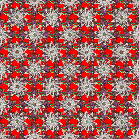 Vector pattern. Vector illustration. Gentle, spring floral on colorful background. Exploding flowers abstractly placed.