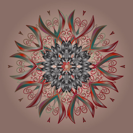 Decorative christmas background with bokeh beige, gray and reds and snowflakes. Vector illustration.