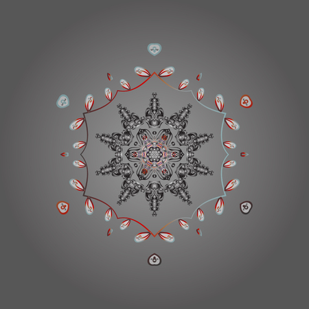 Vector illustration. Decorative christmas background with bokeh gray, white and reds and snowflakes.