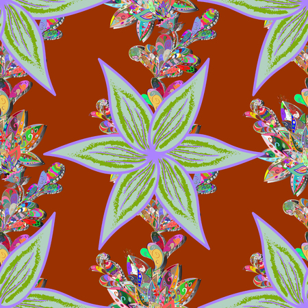 Gentle, spring floral on brown, neutral and green colors. Exploding flowers abstractly placed. Vector pattern. Vector illustration.