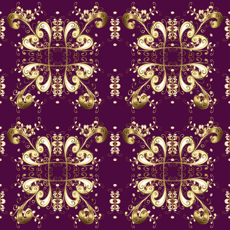 Seamless pattern oriental ornament. Vector golden textile print. Golden pattern on purple, brown and beige colors with golden elements. Islamic design. Floral tiles.
