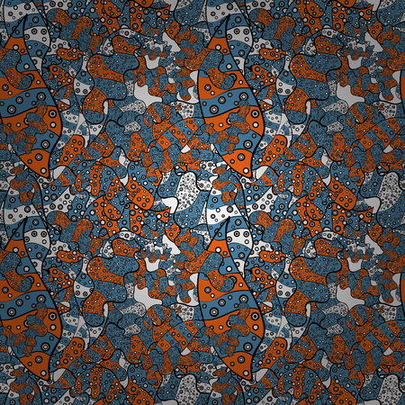 Seamless pattern Print. Design. Vector. Nice fabric pattern. Flat elements. Doodles blue, black and orange on colors.