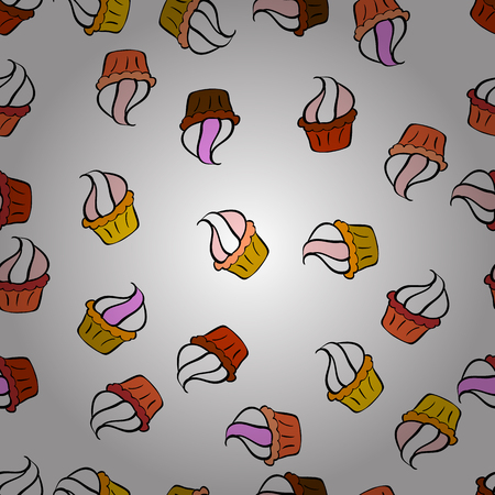 Vector illustration. Wrapping paper. For food poster design on white, orange and black. Seamless with cupcakes.