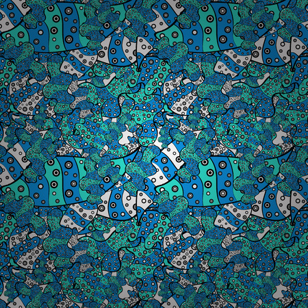 Seamless Doodles blue, black and white on colors. Stylish fabric pattern.