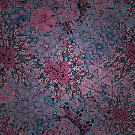 Stylish fabric pattern vector seamless doodles neutral, blue and pink on colors vintage.