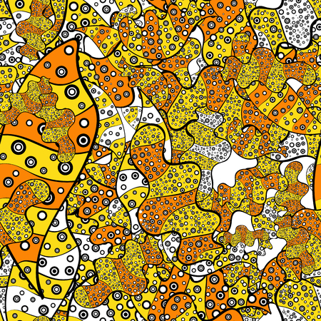 Vector texture. Beautiful fabric background. Illustration. Doodles on a black, yellow, orange, white and gray colors.