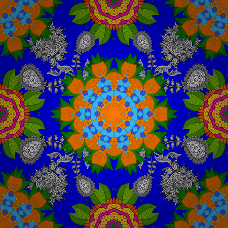 Blue, green and orange on colors. It can be used on sketch, mug prints, baby apparels, wrapping boxes etc. Nice background. Vector - stock. Seamless Beautiful fabric pattern. Doodles cute pattern.