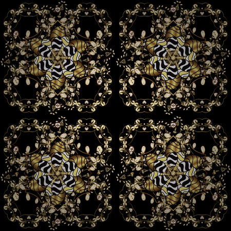 Illustration pour Vector oriental ornament. Golden pattern on black, yellow and brown colors with golden elements. Seamless golden pattern. - image libre de droit
