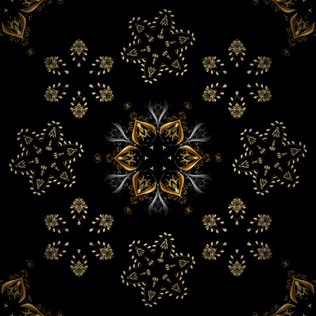 Illustration pour Damask background. Golden floral seamless pattern. Golden element on a black, brown and gray colors. Gold floral ornament in baroque style. - image libre de droit