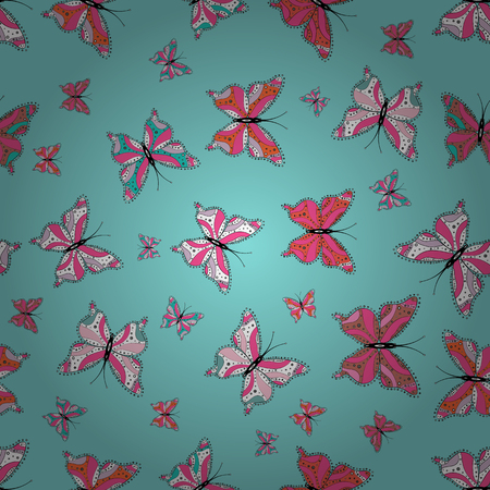 Background. Vector illustration. In simple style. Abstract cute butterfly on blue, pink and white colors.
