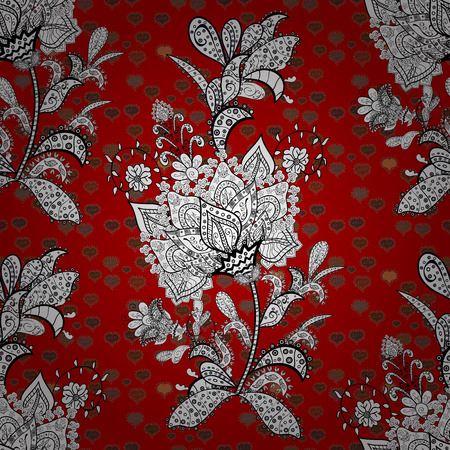 Stylish fabric pattern. Seamless Doodles white, black and red on colors. Vector. Vintage.