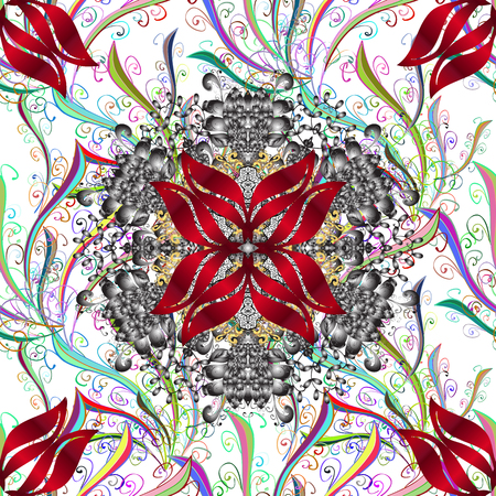 Holidays mood. Spring summer time. Vector seamless cute flower pattern. Flowers on white, gray and red colors. Gentle romantic print.