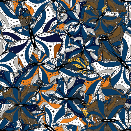 In simple style. Background. Vector illustration. Abstract cute butterfly on blue, white and black colors.