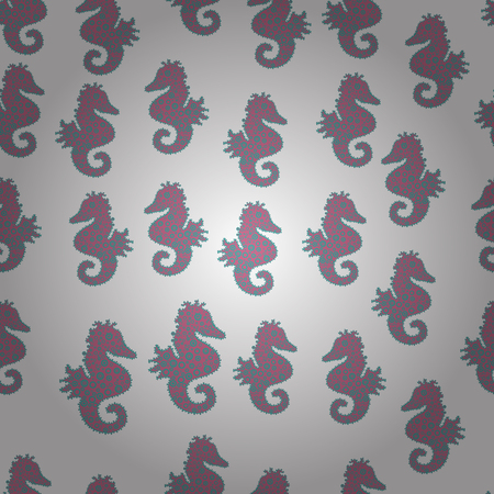 Scribble, sketch, doodle. Seahorse on white, blue and pink background. Seamless pattern. Perfect for surface textures, wallpapers, web page backgrounds, textile. Vector. Tigertail Seahorse cutout.