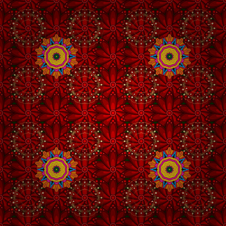 Illustration pour Seamless flowers pattern. Flowers on red, brown and orange colors. Vector illustration. In asian textile style. Vector illustration. - image libre de droit