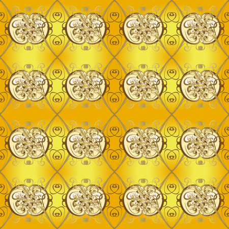 Illustration pour Retro textile collection. Vector illustration. Elements with beige and yellow colors. Snowflakes with different ornaments. Simple Christmas seamless pattern with geometric motifs. - image libre de droit
