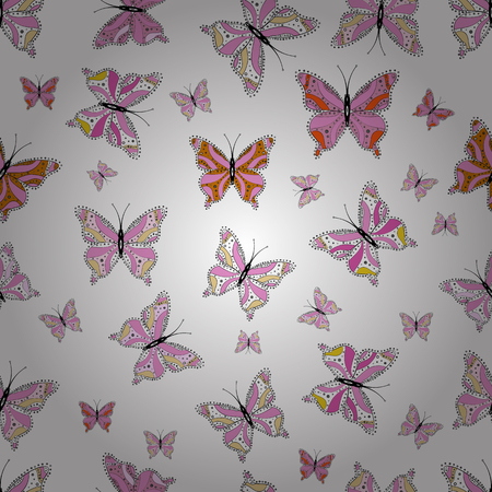 Vector illustration. Background. Abstract cute butterfly on white, black and pink colors. In simple style.