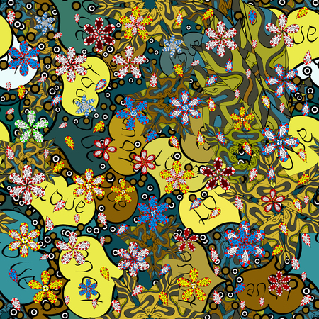 Illustration for Seamless pattern Elegant decorative ornament for fashion print, scrapbook, wrapping paper, sketch. Images on a green, blue and yellow colors Vector illustration. - Royalty Free Image