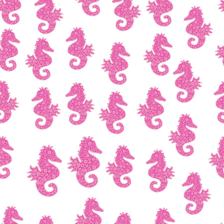 Sea Horse. Abstract seamless pattern for sketch, clothes, boys, girls. In vintage style. Vector illustration. Pictures in white, pink and neutral colors.