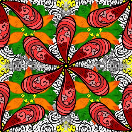 Illustration pour Colorful seamless pattern with cute flowers, paisley, red, orange and black colors. Hand drawn flower seamless pattern (tile). Watercolor seamless pattern for textile. - image libre de droit