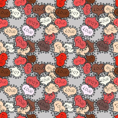 Vector illustration. Pattern for wrapping, cover, background, surface print. Endless background with hand drawn figures on pink, black and gray colors. Seamless raster love pattern with hearts.