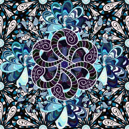Illustration pour Flowers on black, neutral and blue colors. Seamless Floral Pattern in Vector illustration. - image libre de droit