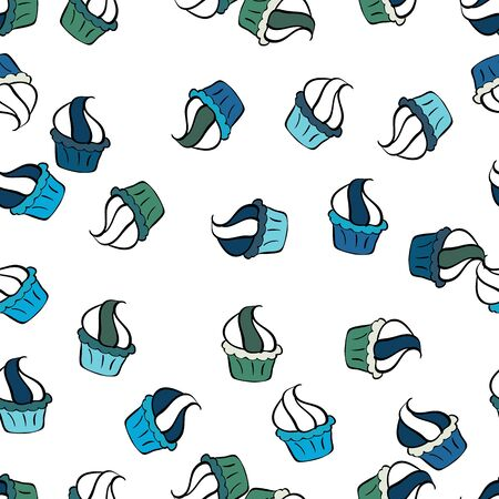 Illustration for Cupcakes seamless pattern with watercolor on black, blue and white background. Vector illustration. Sweets background design. Hand drawn doodle illustration with pastry. - Royalty Free Image