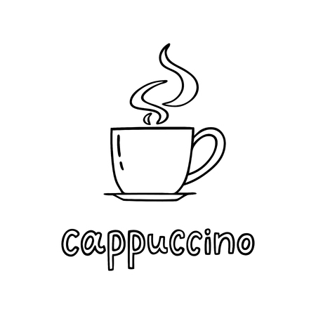 Illustration pour Hand drawn cup of cappuccino with handwritten phrase Cappuccino. Can be used for coffee break poster, card, leaflet. Vector illustration - image libre de droit
