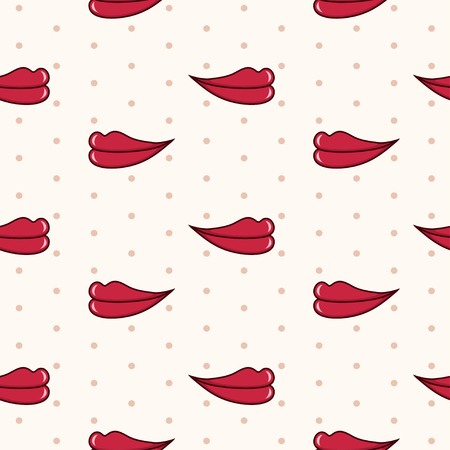 seamless pattern with red lips on beige background with polka dot