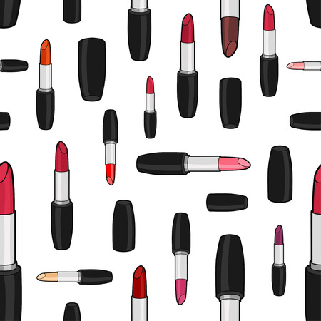 Vector seamless pattern with varicolored lipsticks and caps of different size rotated in different directions on white background