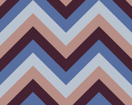 Striped, zigzagging seamless pattern. Zig-zag line texture. Stripy geometric background. Blue, brown,beige contrast colored. Winter theme. Vector