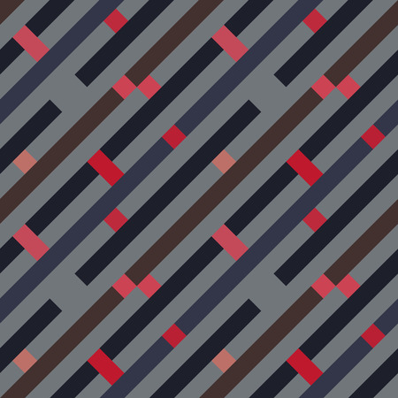 Seamless geometric stripy pattern. Texture of diagonal strips, lines and rectangles. Gray, brown, red violet pastel colored background. Labyrinth theme. Vector