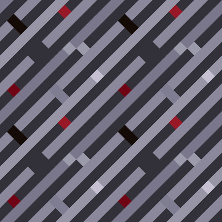 Seamless geometric stripy pattern. Texture of diagonal strips, lines. Red, gray colored striped background with rectangles. Vector