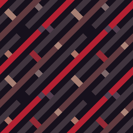 Seamless geometric stripy pattern. Texture of diagonal strips, lines. Rectangles on brown, red, gray striped background. Vector