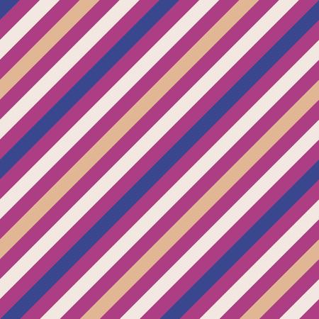Seamless geometric pattern. Stripy texture for neck tie. Diagonal contrast strip background. Magenta, blue, cream, light orange colors. Vector
