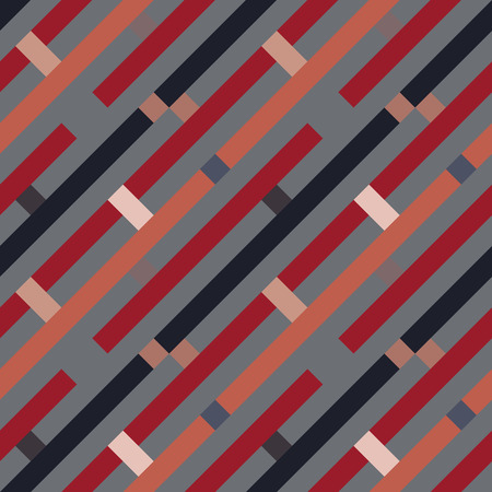 Seamless geometric stripy pattern. Texture of diagonal strips, lines. Rectangles on orange, red, gray striped background. Vector