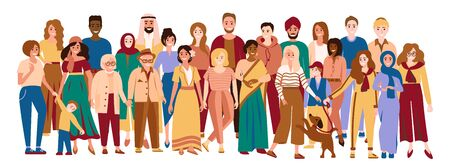 Illustration pour Multiracial men and women. Happy multicultural people. Diverse group of multiethnic people. Young, adult and elder men, women and children. Social diversity. Vector illustration isolated on white - image libre de droit