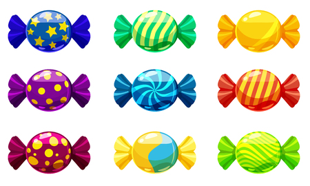 Illustration for A set of sweet candies in a package of different colors, vector. Illustration of cartoon style, isolated - Royalty Free Image