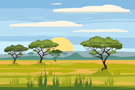 Ilustración de African landscape, savannah, sunset, vector, illustration, cartoon style, isolated - Imagen libre de derechos