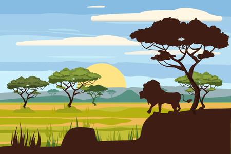 Ilustración de African landscape, lion, savannah, sunset, vector, illustration, cartoon style, isolated - Imagen libre de derechos