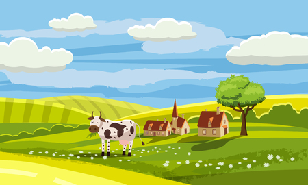 Cute rural landscape with farm, cow, flowers, hills, village, cartoon style, vector, isolated