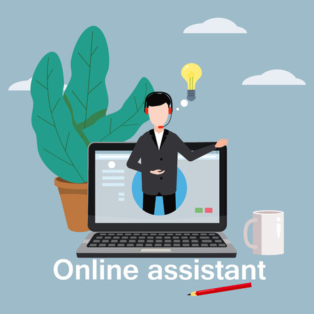 Illustration pour Concept online assistant, customer and operator, call centre, online global technical support 24-7. - image libre de droit