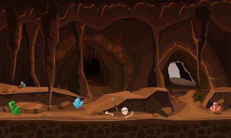 Ilustración de Treasure cave with crystals. Concept, art for computer game. Background image to use games, apps, banners, graphics. Vector cartoon illustration - Imagen libre de derechos