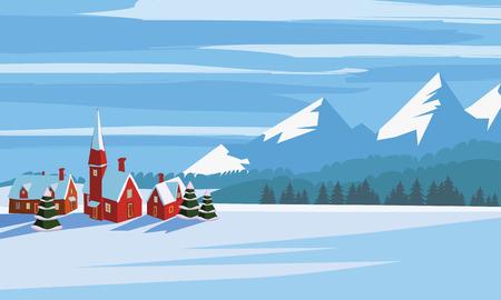 Illustration pour Winter landscape, cartoon minimal style. Horizon, panorama, snow-covered trees, village mountains ate pine - image libre de droit