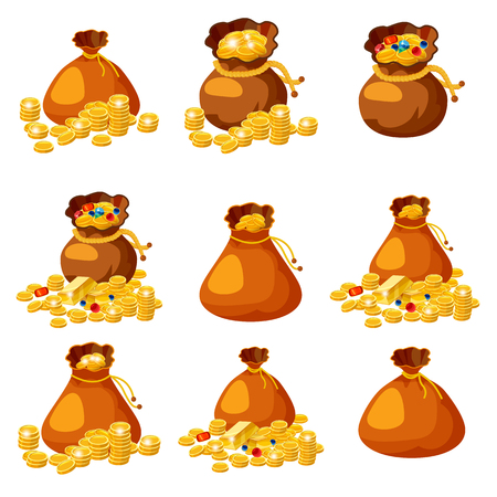 Illustration pour Set of old bags, purses, empty and full of gold, coins, brillants, treasures, for gaming, applications vector isolated - image libre de droit