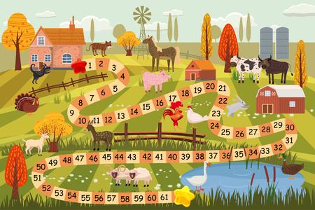 Illustration pour Illustration of a boardgame with farm scene - image libre de droit