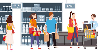 Illustration for Supermarket or store interior with shelves and goods, groceries, cash desk and cashier. Men and women buyers, cart products. Big shopping center. Vector, illustration, isolated, cartoon style - Royalty Free Image